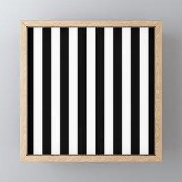 Parisian Black & White Stripes (vertical) Framed Mini Art Print