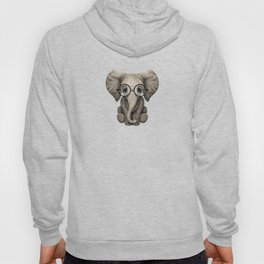 Cute Baby Elephant Calf with Reading Glasses on Pink Hoody