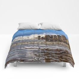 White horse on walcott beach Comforters