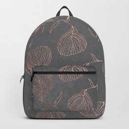 Modern floral hand drawn rose gold on grey cement graphite concrete Backpack