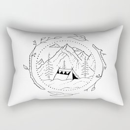 Tent in Snowy Mountainside Encircled by Tree Branches Rectangular Pillow