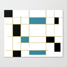 MidCentury Modern Art Aqua Gold Black Canvas Print