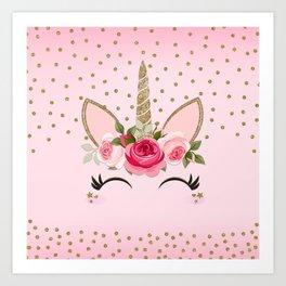 Pink & Gold Cute Floral Unicorn Art Print