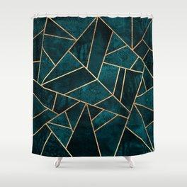 Deep Teal Stone Shower Curtain