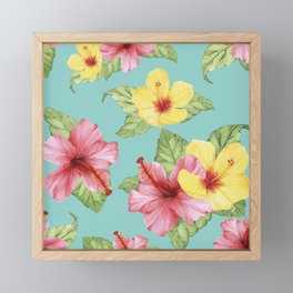 Tropical Hawaiian Hibiscus Floral Print Framed Mini Art Print