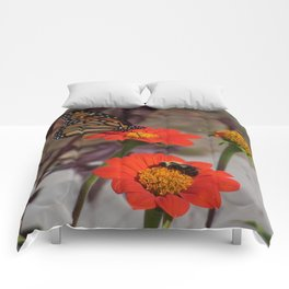 Bumble Bee and Monarch Butterfly on Red and Yellow Flower Comforters