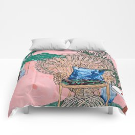 Peacock Chair in Pink Jungle Interior Comforters