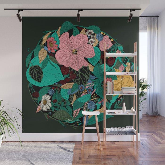 Floral Wreath - Botanical, Illustration, Flowers, Spring, Bouquet, Garden Wall Mural
