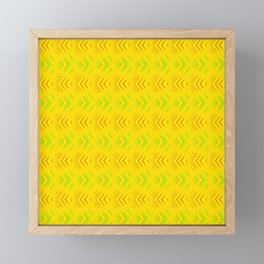 Pattern of intersecting orange hearts and green stripes on a yellow background. Framed Mini Art Print