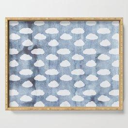 Water Color Clouds White Denim vintage illustration pattern Serving Tray