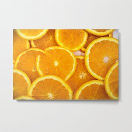 Fresh Orange Slices Metal Print