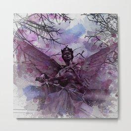 Angel Open Wings And Sword Metal Print