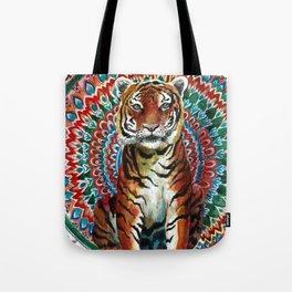Tiger Watercolor Yoga Mandala Tote Bag