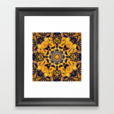 Flame Hearts in Blue and Gold Framed Art Print
