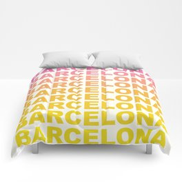 Barcelona Catalonia travel poster Comforters