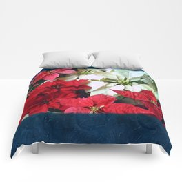 Mixed color Poinsettias 1 Blank P6F0 Comforters