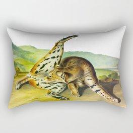 Texan Lynx Vintage Drawing Scientific Illustration Rectangular Pillow