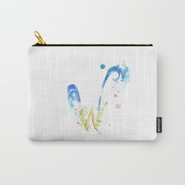 Letter W watercolor - Watercolor Monogram - Watercolor typography - Floral lettering Carry-All Pouch