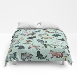 Cats shaped Marble - Mint Green Comforters