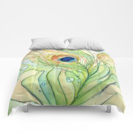 Peacock Feather Green Texture and Bubbles Comforters