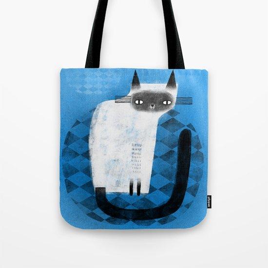 SIAMESE ON BLUE Tote Bag