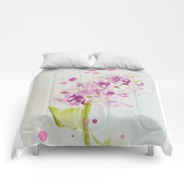 Lilac Sweet Pink Blossom watercolor by CheyAnne Sexton Comforters
