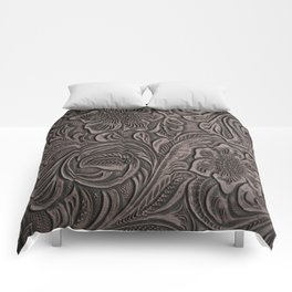 Distressed Smoky Tooled Leather Comforters