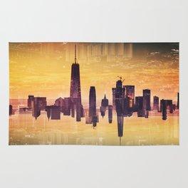 double exposure of nyc skyline Rug