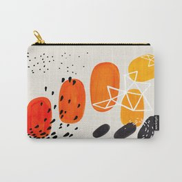 Fun Mid Century Modern Abstract Minimalist Yellow To orange Ombre Stacked Pebbles Carry-All Pouch