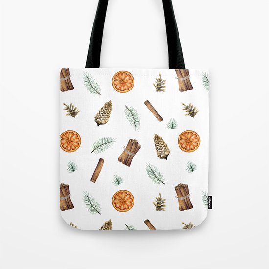 Christmas pattern with citrus and cinnamon Tote Bag