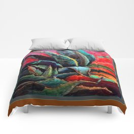 BROWN  DESERT AGAVE & BLUE DRAGONFLIES Comforters
