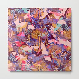 Exotic Jungle / Colorful, maximalist pattern Metal Print
