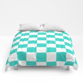 Checkered - White and Turquoise Comforters