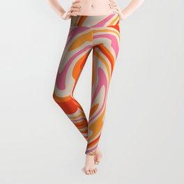 70s Retro Swirl Color Abstract Leggings