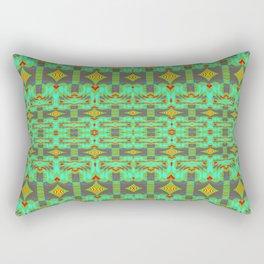 Vintage Psychedelic Kitsch Pattern Green Rectangular Pillow