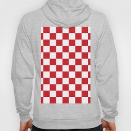 Checkered - White and Fire Engine Red Hoody