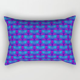 Chaotic pattern of blue rhombuses and purple triangles in a zigzag. Rectangular Pillow