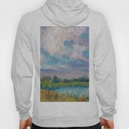 Landscape with lake, fields, forest and blue sky drawing by pastel Hoody
