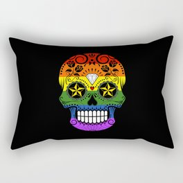Gay Pride Rainbow Flag Sugar Skull with Roses Rectangular Pillow
