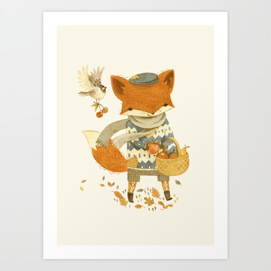 Fritz the Fruit-Foraging Fox Art Print