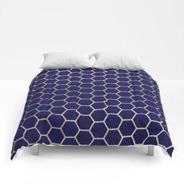 Modern geometrical navy blue gold honeycomb pattern Comforters