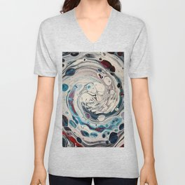 Draining. A fluid art painting by Sharon Perry. Unisex V-Neck