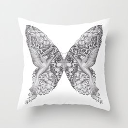 FLOWERS, FEATHERS & FLUTTERS Throw Pillow