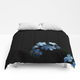 Forget Me Nots on Black Comforters