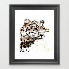 Leopard In Wilderness Sepia Framed Art Print
