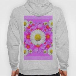 Lilac Fuchsia Rose Bouquet Garden Shasta Daisies Art Hoody