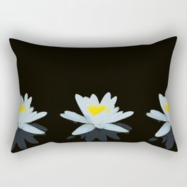 Waterlily Flowers On Black Background #decor #society6 #buyart Rectangular Pillow