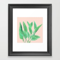 Modern pink tropical green watercolor hand painted leaf pattern Framed Art Print
