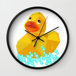 Ducky geometric Yellow funny art Wall Clock