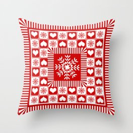 Christmas Gingham Snowflakes and Hearts Throw Pillow